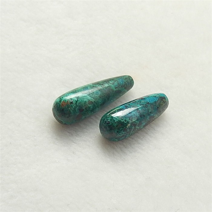 37ct Beautiful Nugget Chrysocolla Earring Pair(18052108)28mmX28mmX9mm .24mm