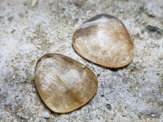 14mm Pair Golden Rutile Faceted free form gemstones 8ct 14 by 11 by 3.5mm