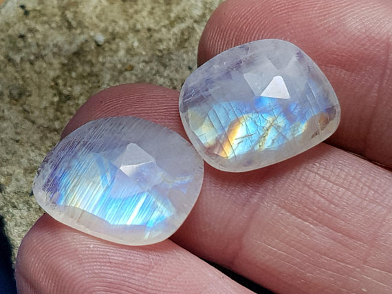 17mm Pair Rainbow Moonstone free form gemstones 14ct 17 by 14 by 4mm approx