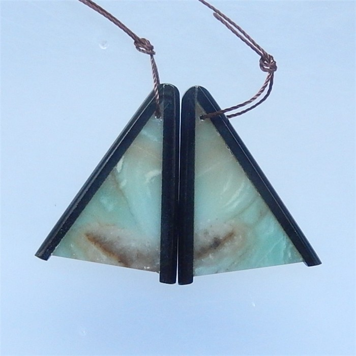59ct New Design Obsidian And Amazonite Earring Pair(18052208)