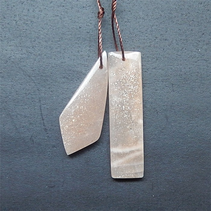 21.5ct Fashion Natural Sun Stone Earring Pair(18052504) 35mmX9mmX5mm. 31mmX