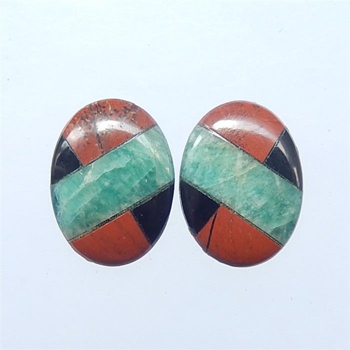 9.85ct New Design Amazonite And Obsidian.Red River Jasper Intarsia Earring