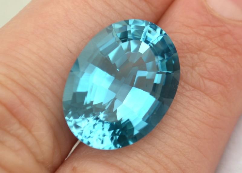 22.11 Carat Fantastic Fancy Antique Oval Cut Swiss Blue Topaz