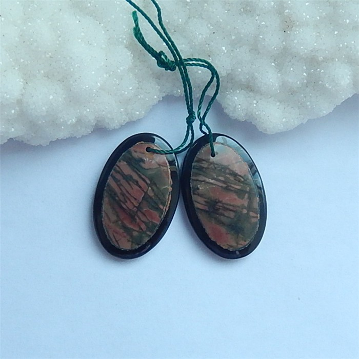 36.5ct Hot Sale Obsidian And Multi-Color Picasso jasper Intarsia Earring Pa