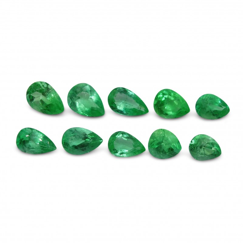 Emerald 5.24 cts 10st Pear WHOLESALE LOT