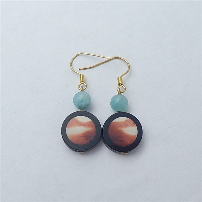 21ct Fashion Natural Obsidian And Mookite Earring Pair(18053115)