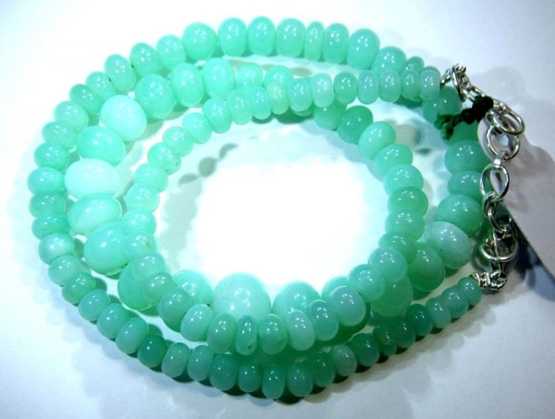 129.45CTS CHRYSOPRASE BEADS STRAND NP-2429