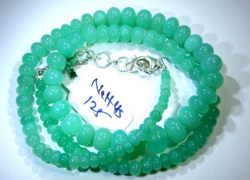 125.90CTS CHRYSOPRASE BEADS STRAND NP-2431