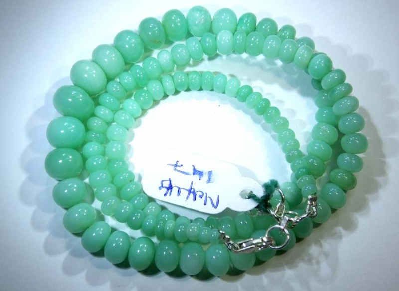 148.10CTS CHRYSOPRASE BEADS STRAND NP-2437