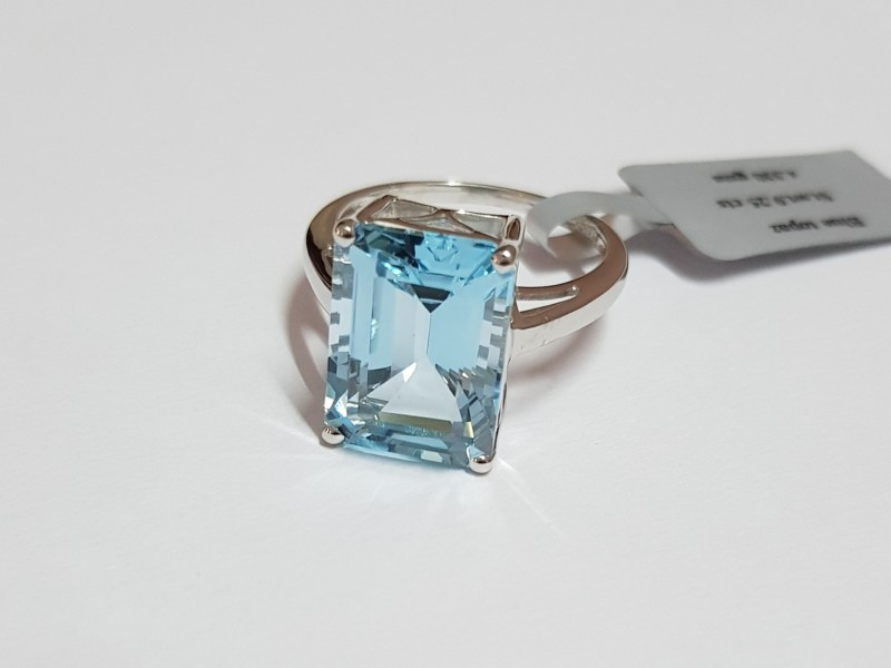 Blue topaz 925 Sterling silver ring #CJ2