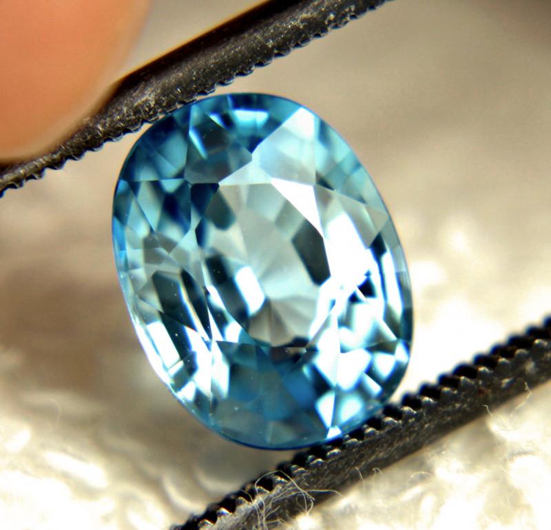 3.19 Carat Vibrant Blue Southeast Asian VVS Zircon - Gorgeous