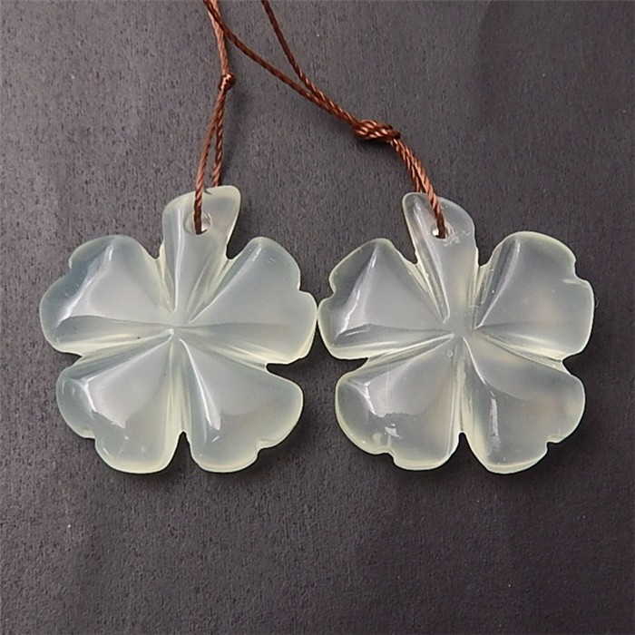 58.5ct New Arrival Natural Nephrite Jade Craved Flower Earring Pair(1806071