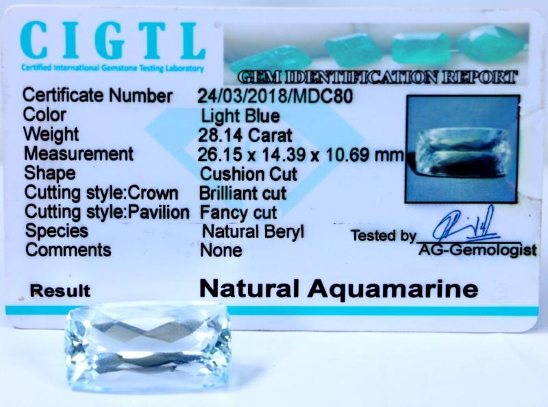Certified CIGTL~28.14 Cts Museum Grade Light Blue color Aquamarine