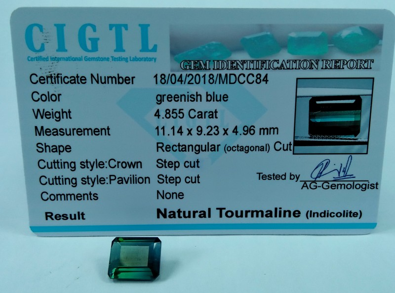 Certified|CIGTL~4.855 Cts Museum Grade Green color