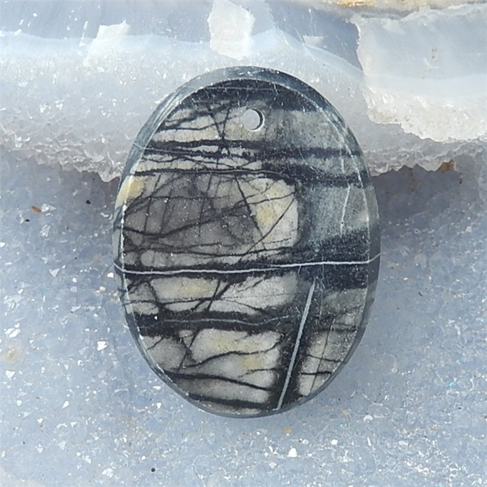 59ct Natural Oval Picasso Jasper Pendant (18061005)