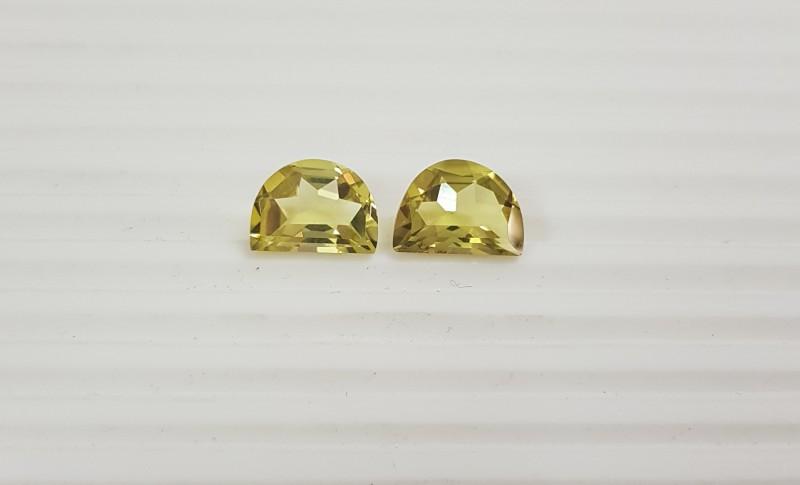 10 cts Lemon quartz - Green gold colour - fancy D shape pair G0027