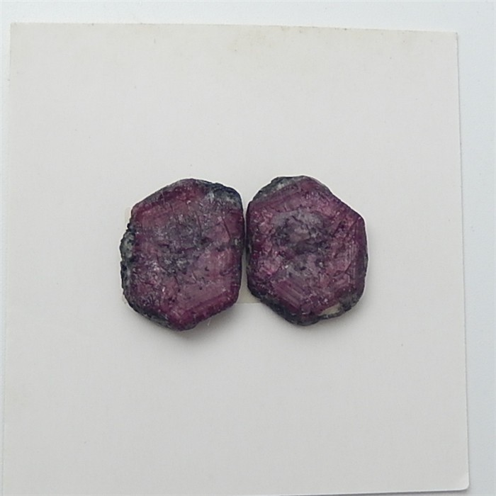 12ct New Arrival Nugget Drusy Ruby Cabochon Pair(18061906)