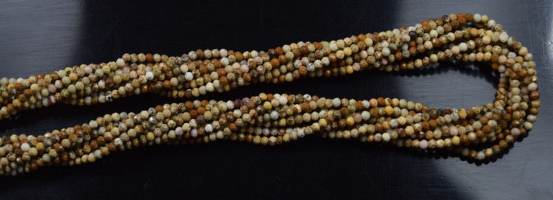 100% NATURAL AUTHENTIC PICTURE JASPER MICRO  FACETED RONDELLE BEADS (1 STRA