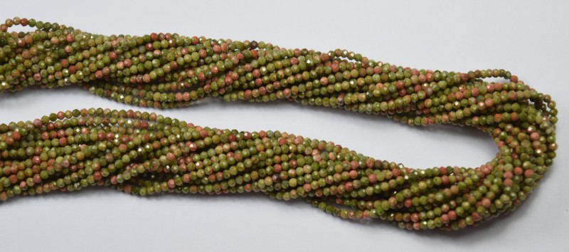 100% NATURAL AUTHENTIC UNAKITE FACETED RONDELLE BEADS (1 STRAND ONLY