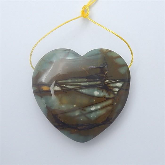 86ct Natural  Heart Shape Picasso Jasper Pendant (18062509)