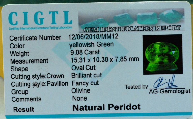 Certified 9.08 cts Top Lustor And Color Quality Grade