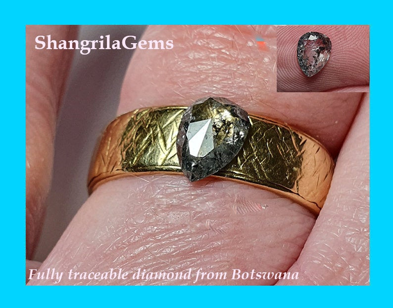 0.58ct 7.47mm Salt Pepper rose cut drop pear diamond 7.47 by 4.98 by 1.78mm