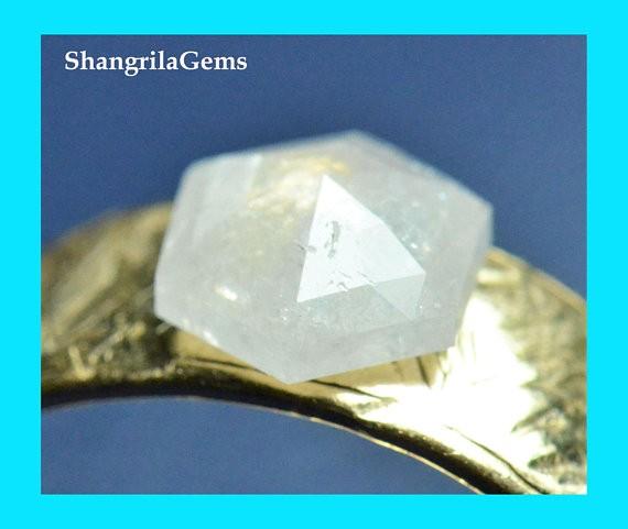 7.1mm Hexagon Rose cut diamond ice white 1.025ct