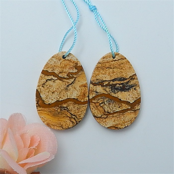 47ct Natural Oval Picture Jasper Earring Pair(18070308)