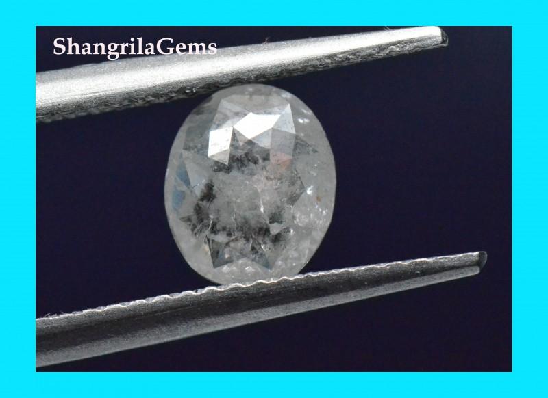 0.77ct 7.2mm Salt pepper oval diamond rose cut