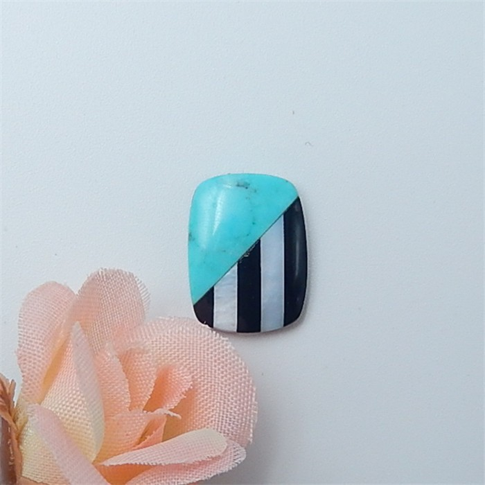6.5ct Special Design Natural Sleeping Beauty Tuquoise .Obsidian And Shell I