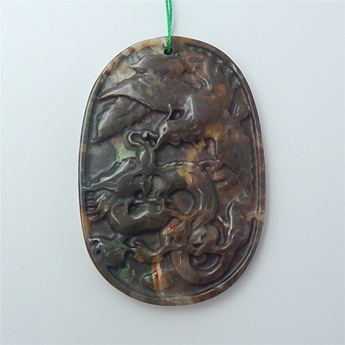 82ct Special Gift Natural Mushroom Jasper Carved Dragon&Phoenix Ancient