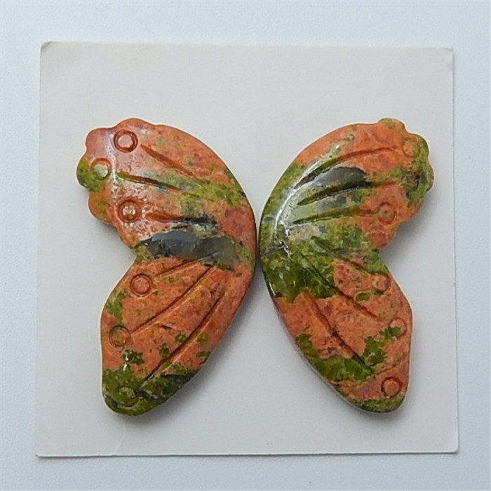 32.8ct Special Design Natural Unakite Jasper Craved Butterfly Cabochon (180