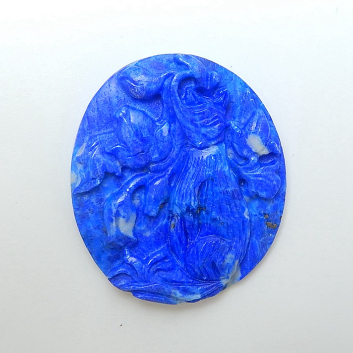 88ct New Arrival Natural Lapis Lazuli Craved Peacock Cabochon  (Can Be Dril
