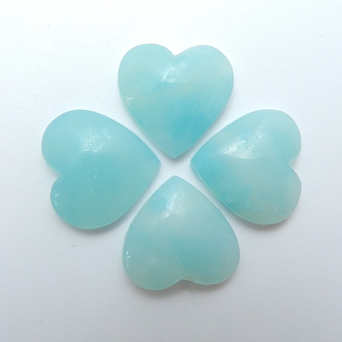 24.5ct 4Pcs Special Gift Natural  Heart Shape Amazonite Cabochon (18071114)