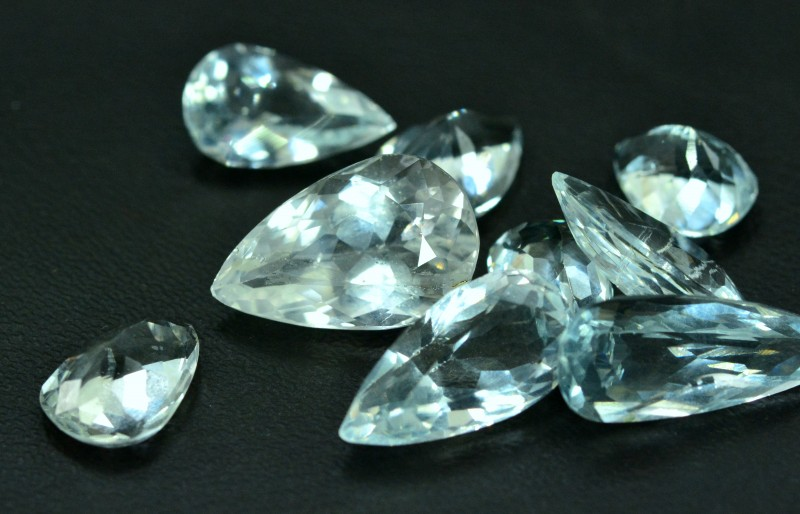 25.75 cts 9 pcs  Pear Cut Lot of Untreated Aquamarine Loose gemstone from P