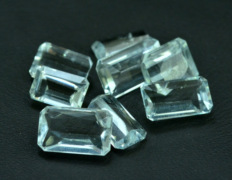 24.55 cts Baguette Cut 8 pcs Lot of Untreated Aquamarine Loose gemstone fro