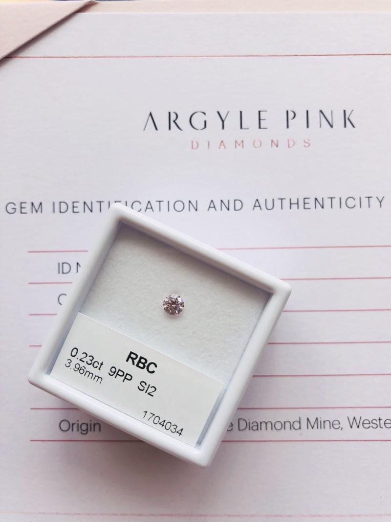 0.23ct 9PP Si2 Certified Argyle Pink Diamond