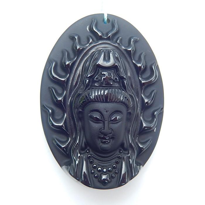 140ct New Design Natural Obsidan Carved Guanyin Pendant(18071203)