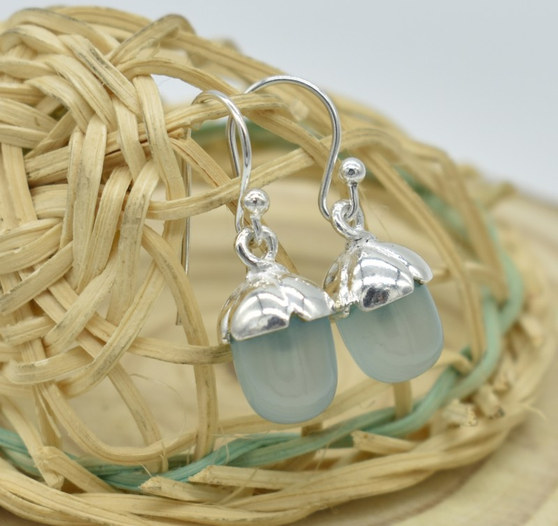 NATURAL UNTREATED CHALCEDONY EARRINGS 925 STERLING SILVER JE344