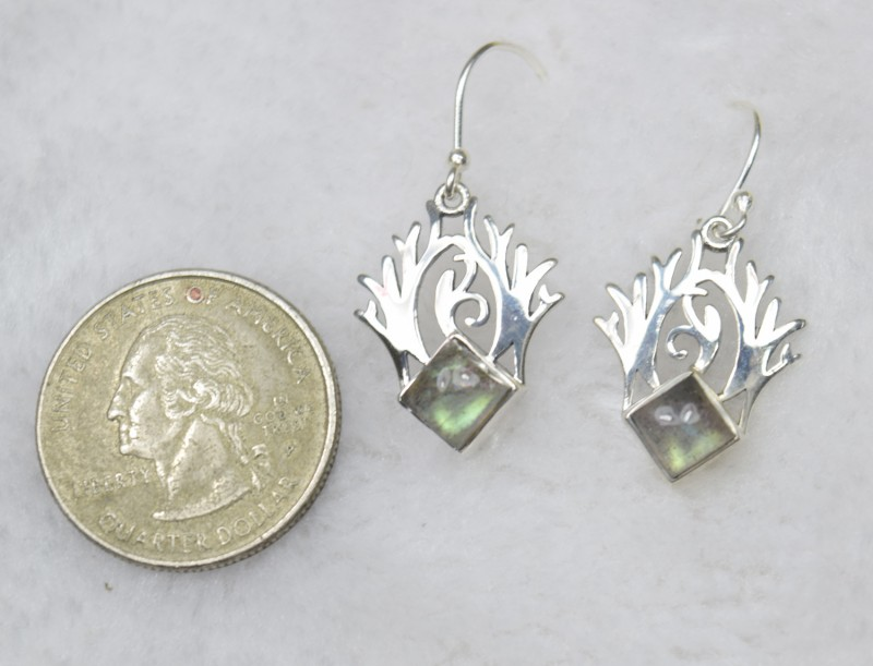 5fc1c983a NATURAL UNTREATED LABRADORITE EARRINGS 925 STERLING SILVER JE371