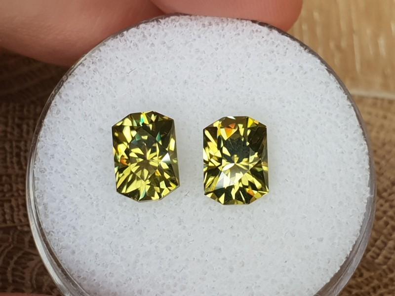 6,60ct Zircon pair - Rare colour & Master cut!