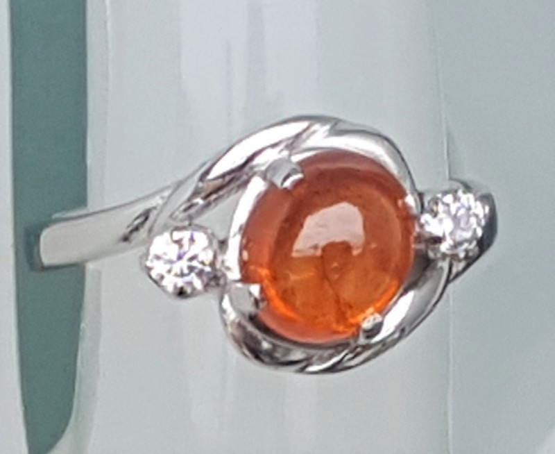 Untreated Mandarin Spessartie In Silver  with CZ accents