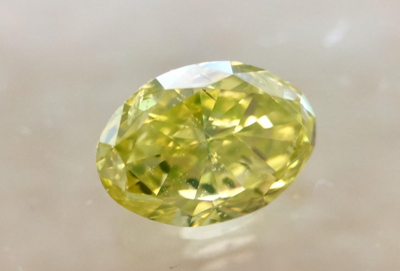 GIA Oval 1.02ct Natural  Fancy Intense Green Yellow I2 Polished Loose Diamo