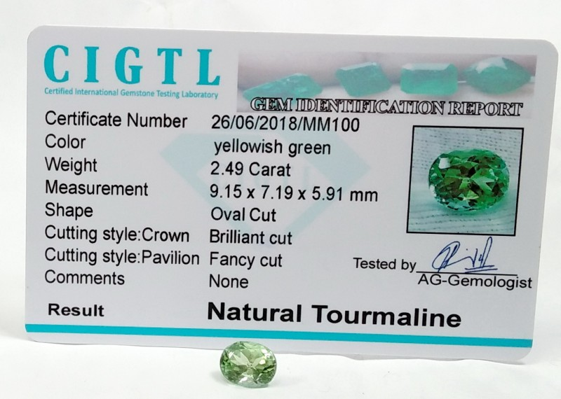 Certified|CIGTL~2.49Cts Museum Grade Blue color Tourmaline Gems