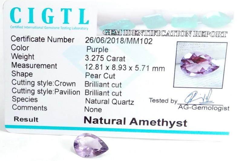 Certified CIGTL 3.275Cts Museum Grade  Purple Amethyst Gemstone