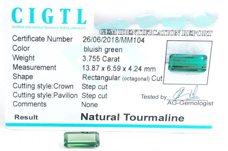 Certified CIGTL~3.755 Cts Museum Grade Green color Tourmaline Gems