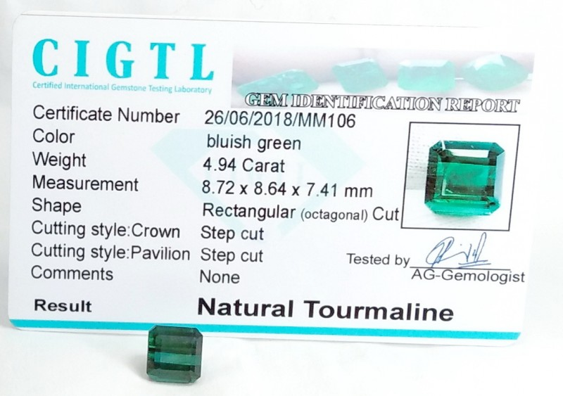 Certified|CIGTL~4.94 Cts Museum Grade Green color Tourmaline Gems
