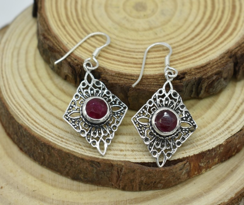 5144295d3 NATURAL RUBY EARRINGS 925 STERLING SILVER JE465 treated