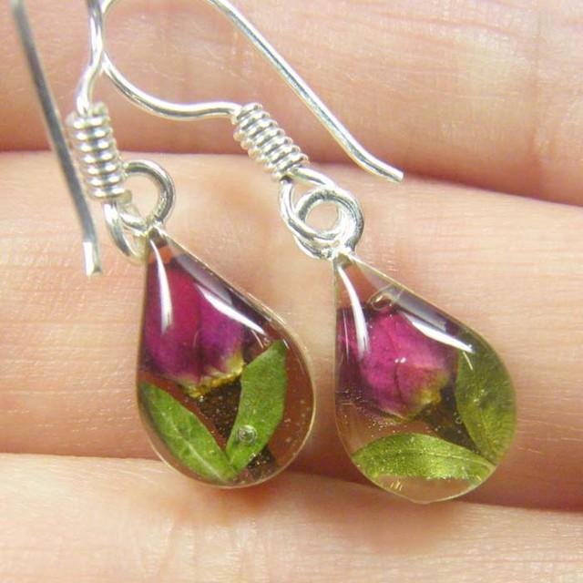 Amazing natural miniture flower in earrings GTJA 177
