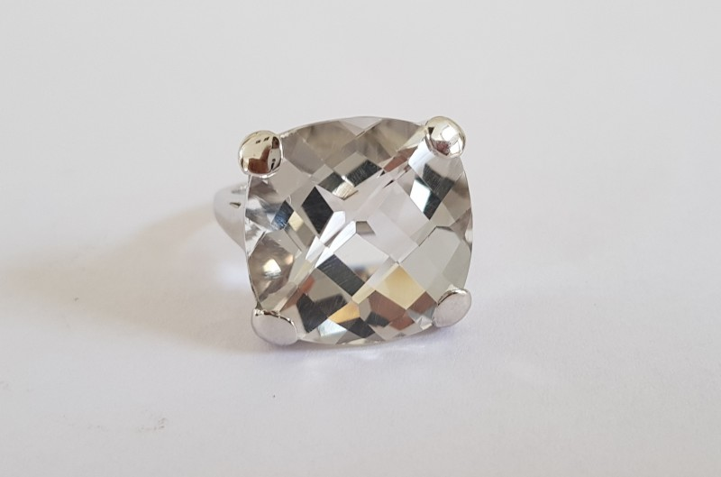 White quartz 925 Sterling silver ring #36325